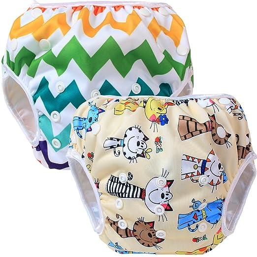 27 opinioni per Teamoy 2pcs Baby Nappy riutilizzabile pannolino da nuoto, Cats+ Colorful Chevron