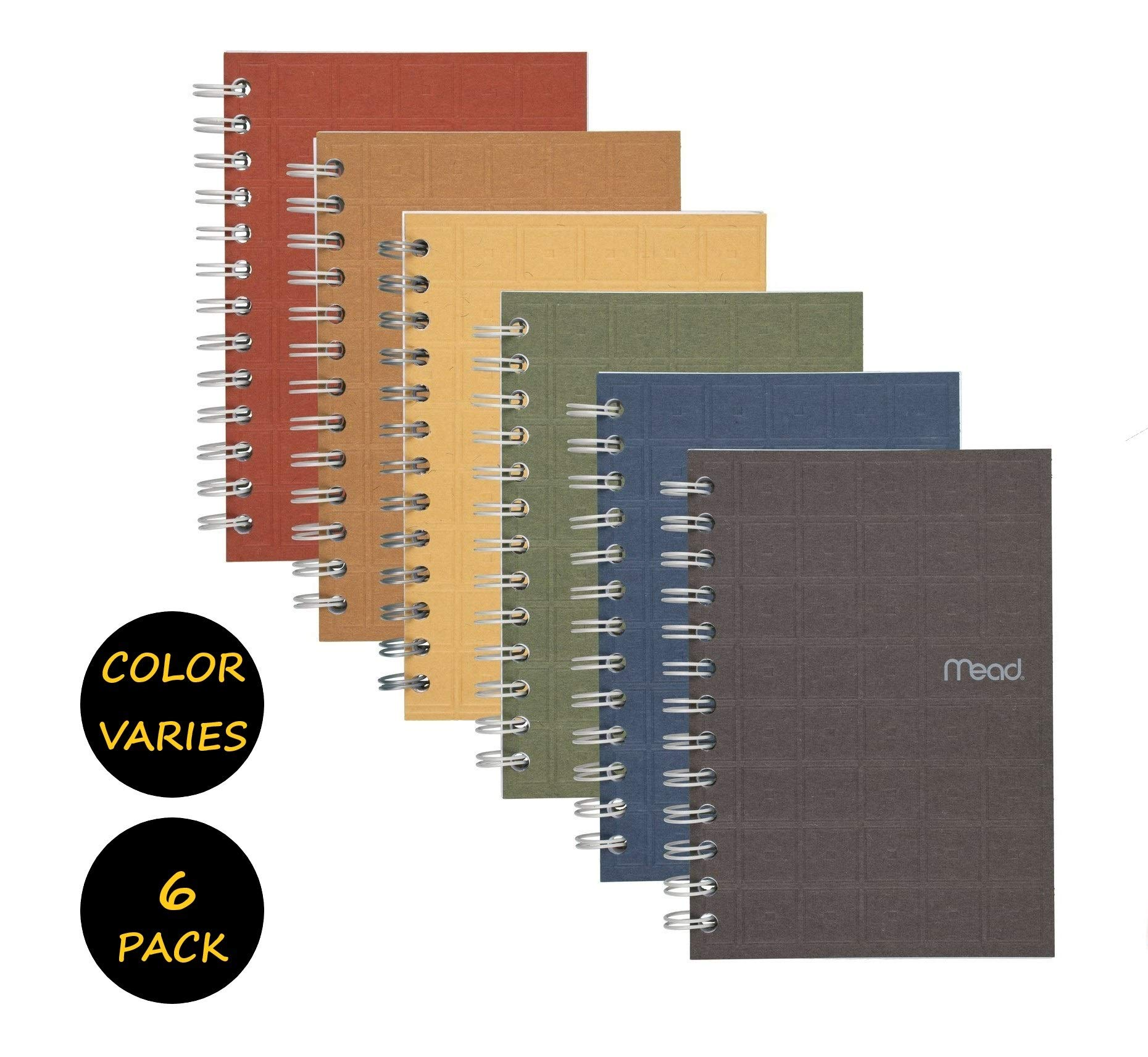 Mead Spiral Notebook, College Ruled Paper, 80 Sheets, 7'' x 5'', Recycled, Assorted Colors, 6 Pack (45186) by Mead