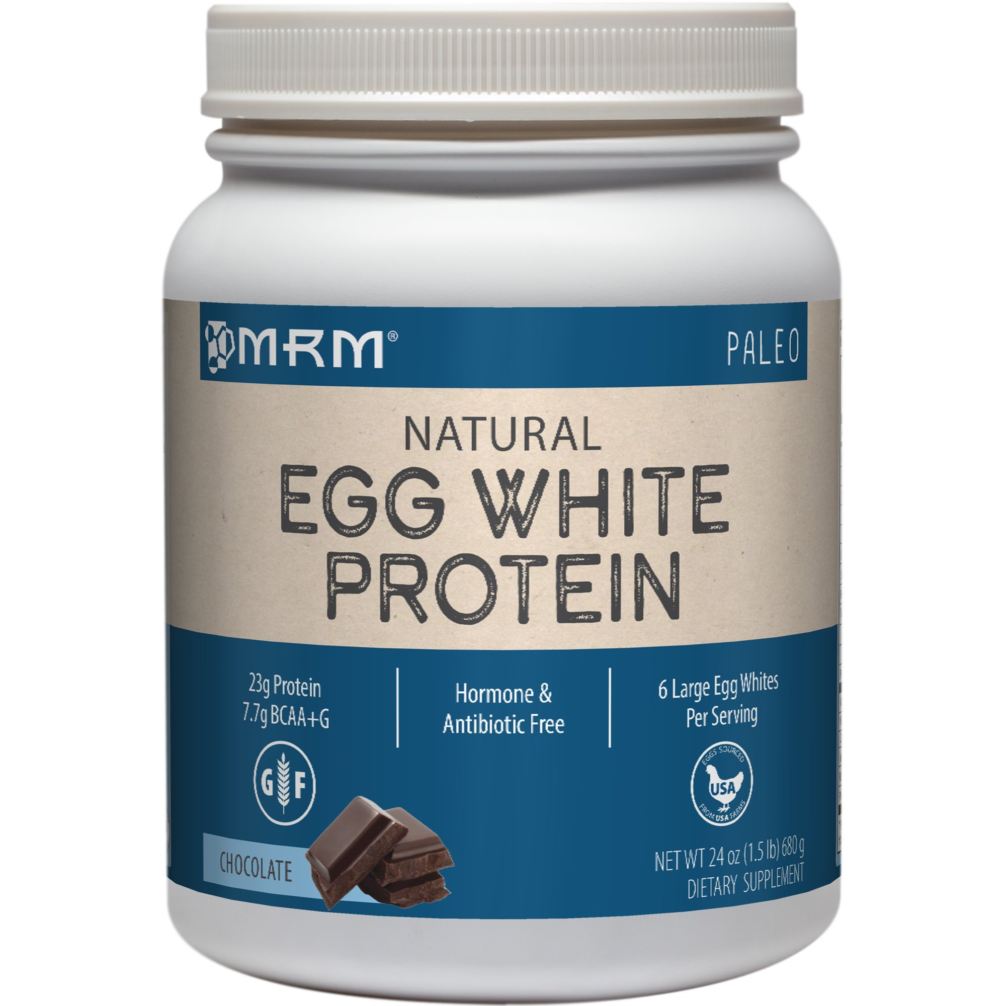 MRM - Egg White Protein, Dairy-Free Protein Powder with Essential Amino Acids Dietary Supplement, Lean Muscle Strength & Recovery, No Fats or Carbs (Chocolate, 24 Ounces)