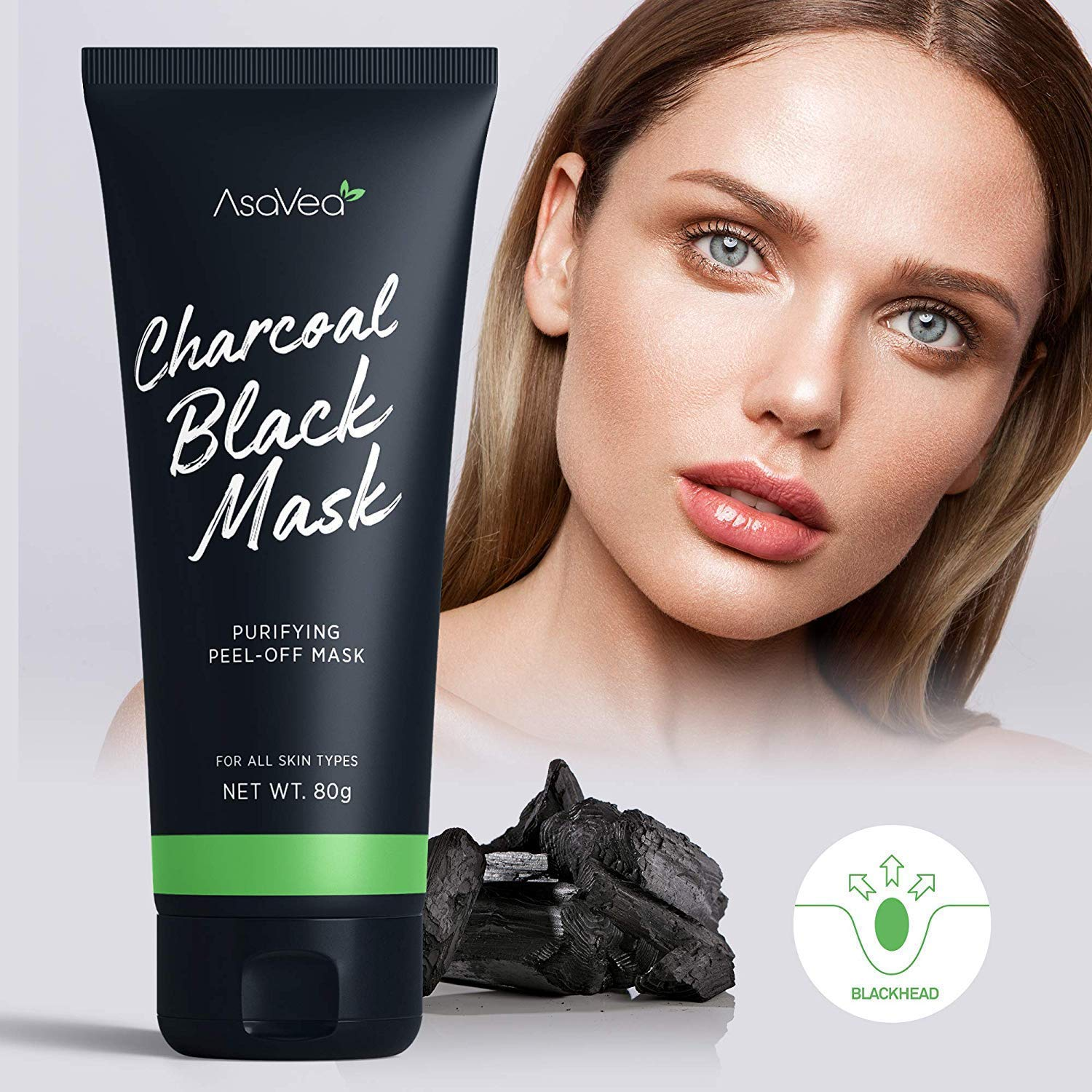 AsaVea Blackhead Peel Off Mask With Brush Black mask Blackhead Remover Mask Purifying Black Peel off
