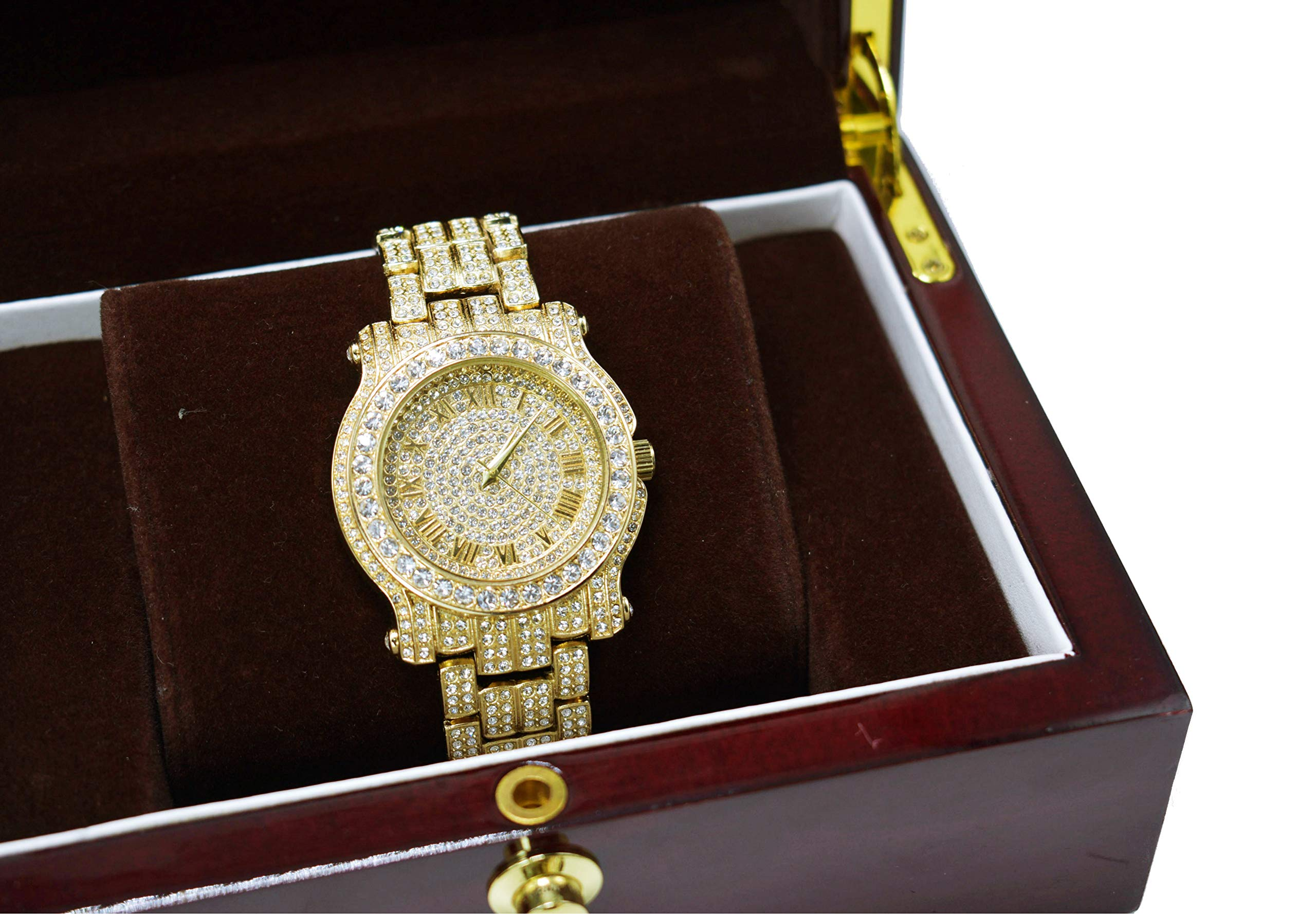 Men's Hip Hop Luxury Iced Out 14K Gold Plated Metal Band Rapper's Bling Watch (Gold)
