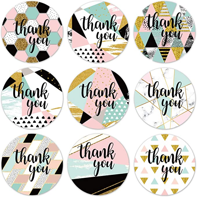 Labels Stickers Modern Thank You Stickers Round Blue Thank You Stickers 1 4 Inches 500 Adhesive Thank You Label Stickers Mr Mug Chic Gold Thank You Label Tags Color Coding Labels