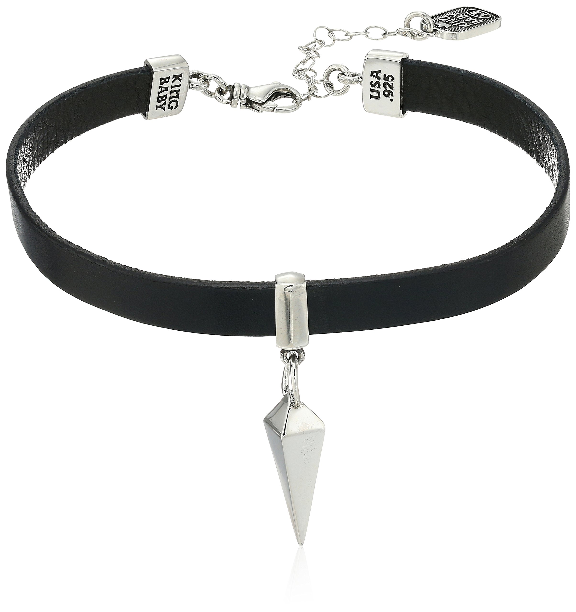 King Baby ''Heartbreaker'' Leather Pyramid Spike Choker Necklace