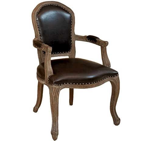 Queen Ann Weathered Oak Brown Leather Armchair