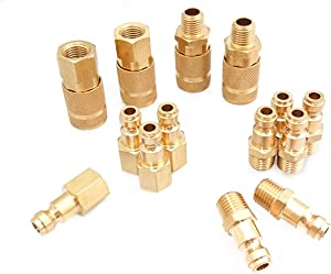 Tanya Hardware Coupler and Plug Kit (14 Piece), Automotive Type C, 1/4 in. NPT, Solid Brass Quick Connect Air Fittings Set