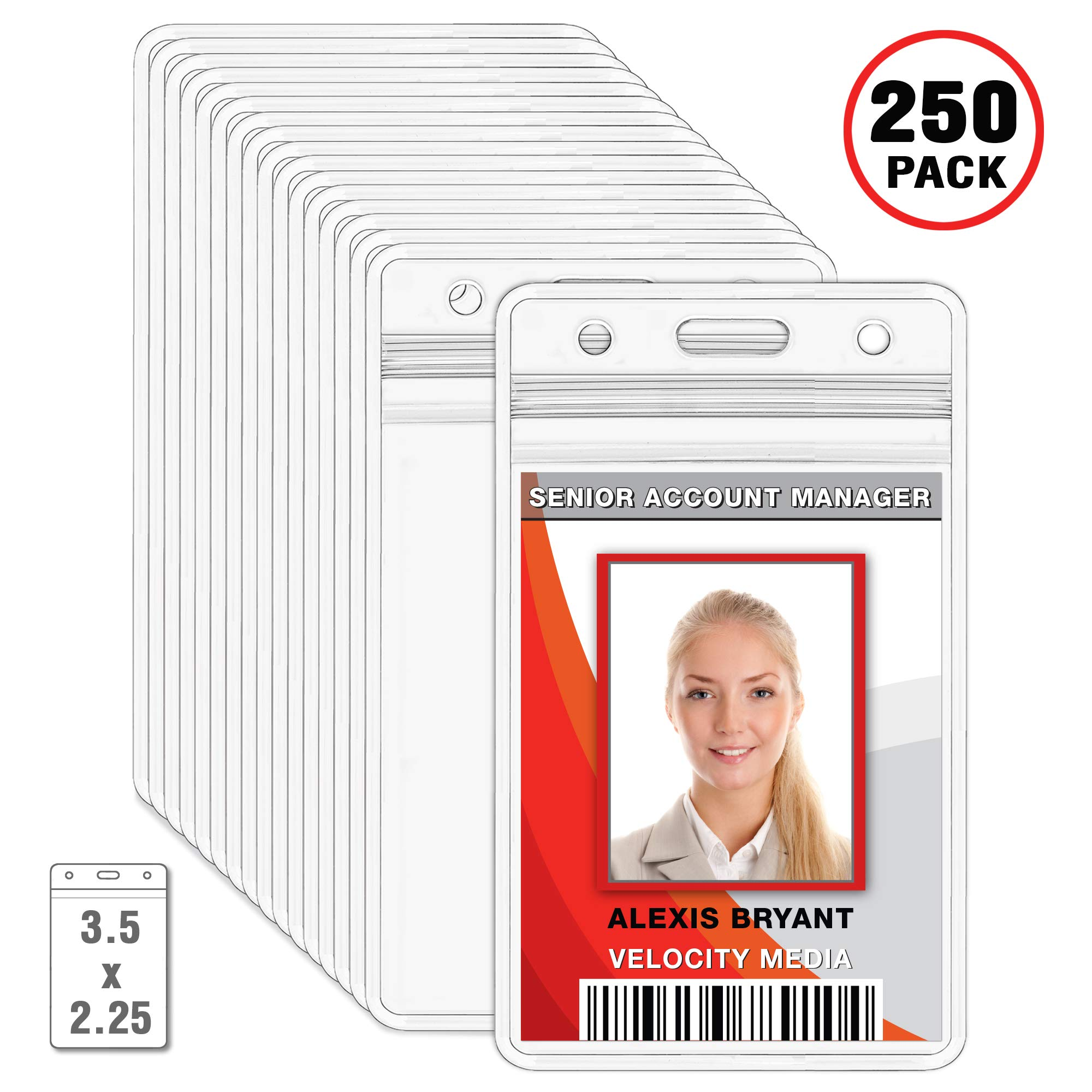 MIFFLIN Plastic ID Badge Holders, Vertical Hanging Card Holder with Zipper, Clear Bulk Nametag Holders (250 Pack)