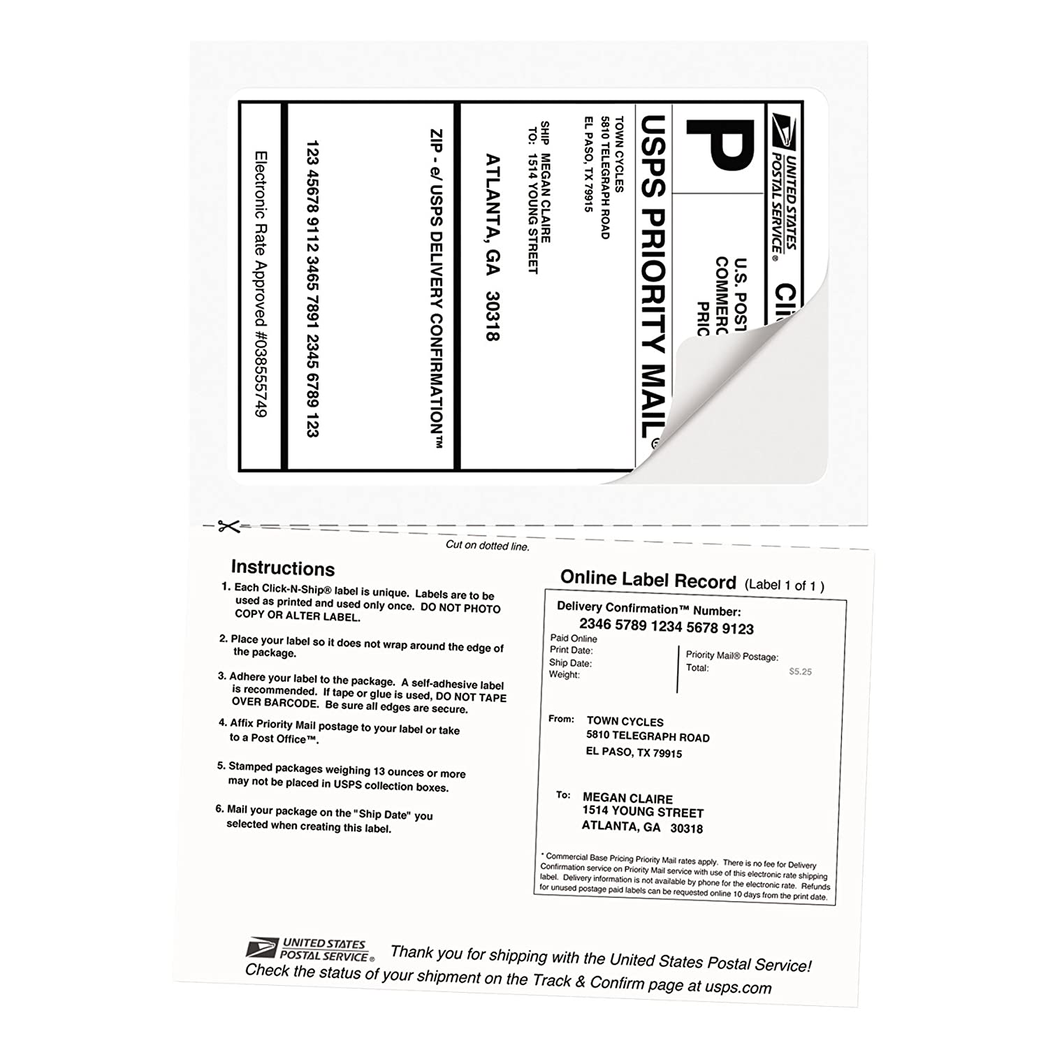 Amazon.com : Avery Shipping Labels w/ Paper Receipts and TrueBlock ...