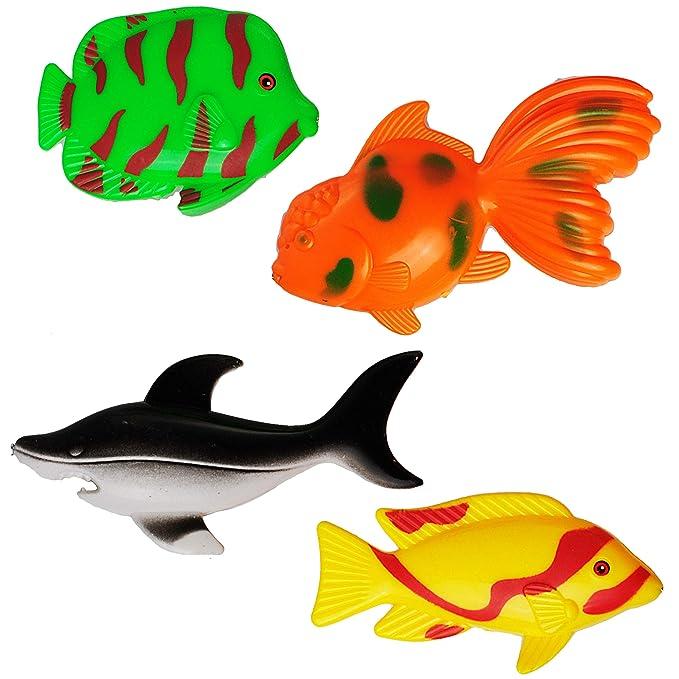 """Set /_ großes /"""" mit 4 großen Fischen /"""" drehbare Ang Angelspiel WASSERFEST"""