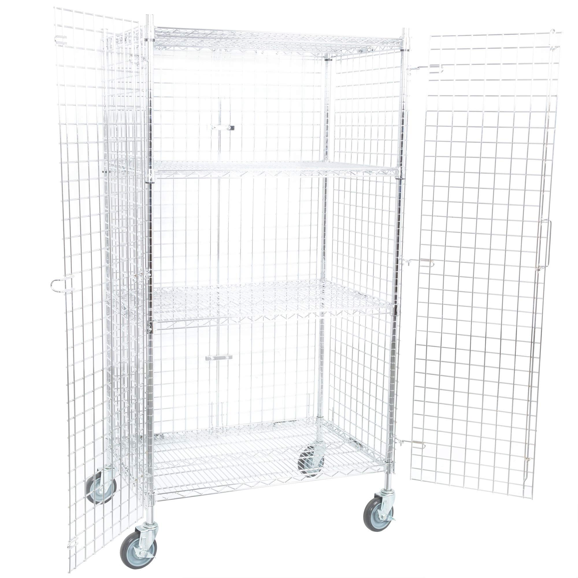 TableTop King NSF Mobile Green Wire Security Cage Kit - 24'' x 36'' x 69''