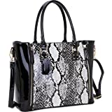 Dasein Women's Fashion Snake Print Top Zip Work Tote Satchel Handbags Shoulder Bag Purse
