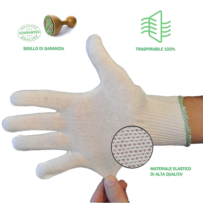 leggeri traspiranti resistenti protettivi monouso comodi elastici morbidi lavabili Guanti cotone dermatologici da lavoro per uomo o donna 12 paia prodotti in Italia