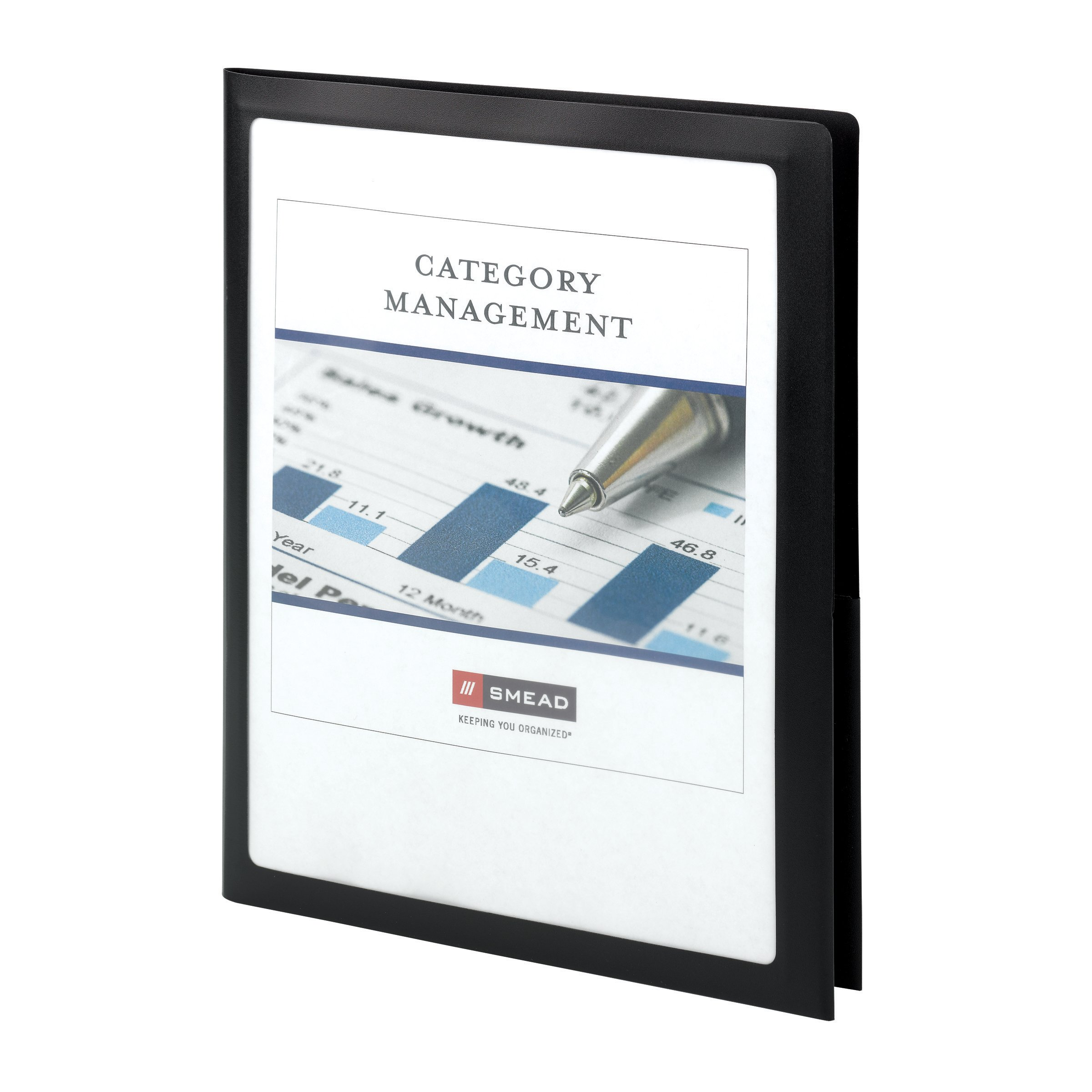 Smead Frame View Poly Two-Pocket Folder, Holds up to 100 Sheets, Letter Size, Black, 5 per Pack (87705)