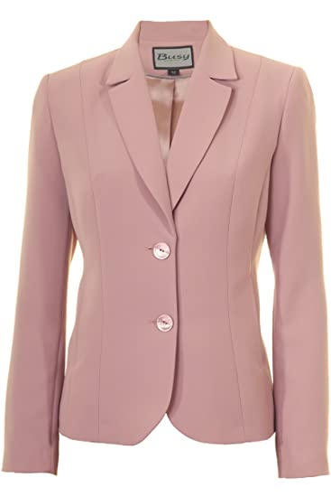 cff0040cd1dbc3 Busy Clothing Womens Dusty Pink Suit Jacket: Amazon.co.uk: Clothing