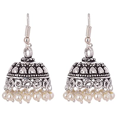 Buy Ganapathy Gems Oxidised Silver Pearl Droplets Jhumki earrings for Women  Online at Low Prices in India  b84aaca41