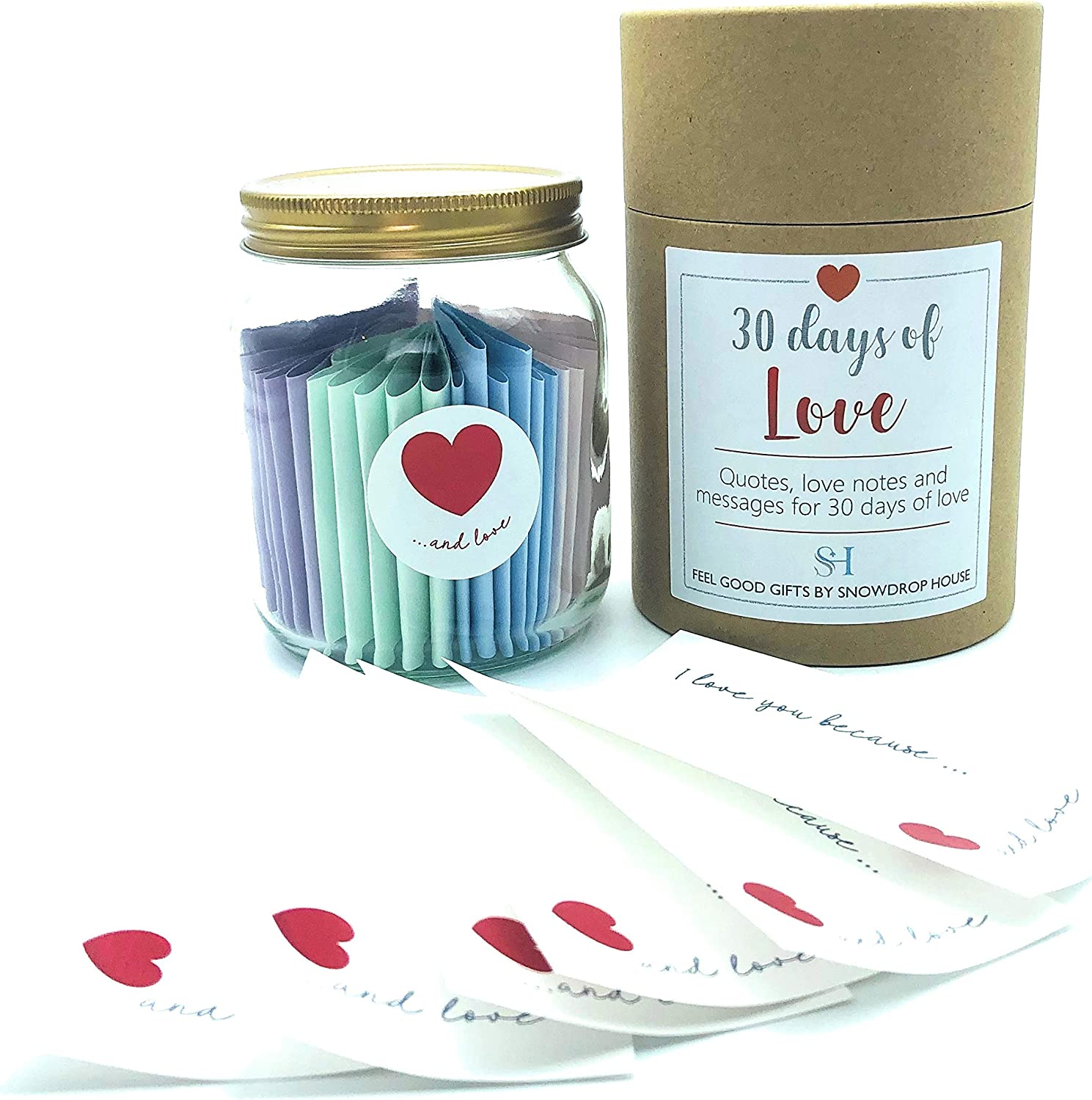 Snowdrophousegifts Sentimental Love Gift Jar Quotes Vibes Date Ideas Personalised Notes 30 One For Every Day Of The Month Gift Boxed For Him Or Her Valentine S Day Birthday Christmas