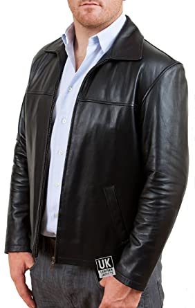 2ab1aa93743 Mens Harrington Black Leather Jacket - Superior Soft Quality Nappa   Amazon.co.uk  Clothing