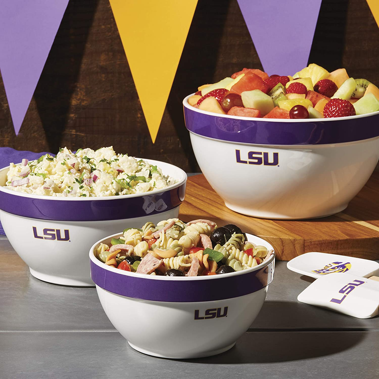 2 PC Smackdown Servers, Louisiana State University College Kitchen Collection Game Day and Tailgate Party Serving Sets
