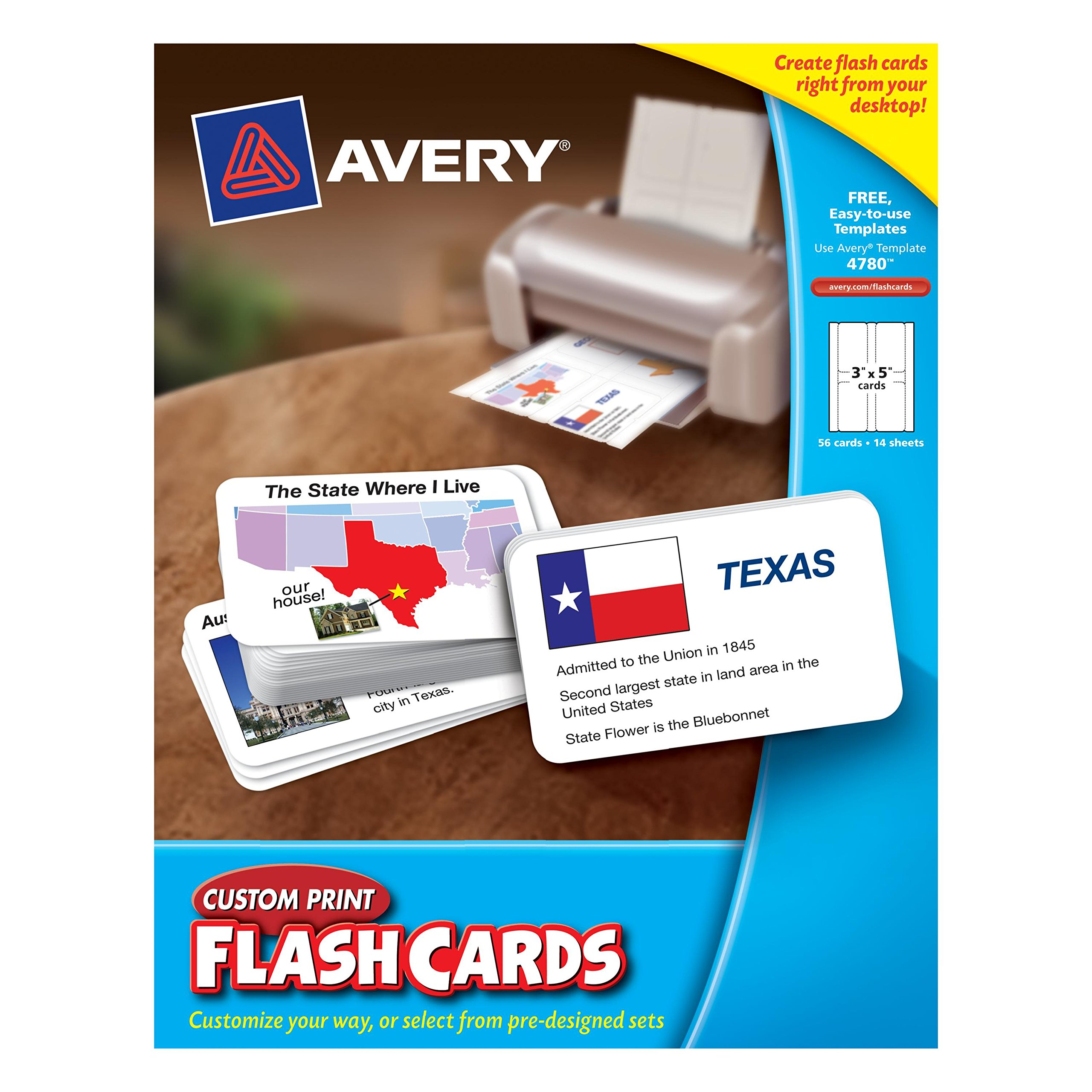 Avery Custom Print Flash Cards 3 x 5 Inches (04780) by Avery (Image #1)