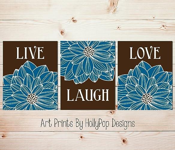 Amazoncom Live Laugh Love Home Decor Art Prints Blue Brown