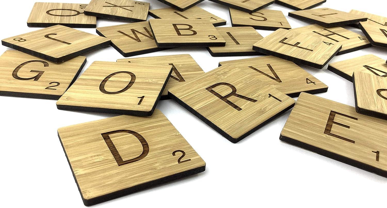 Azulejos de Scrabble de bambú natural gigante de 70 x 70 mm para decoración de pared, 1 letra=1 baldosa: Amazon.es: Hogar