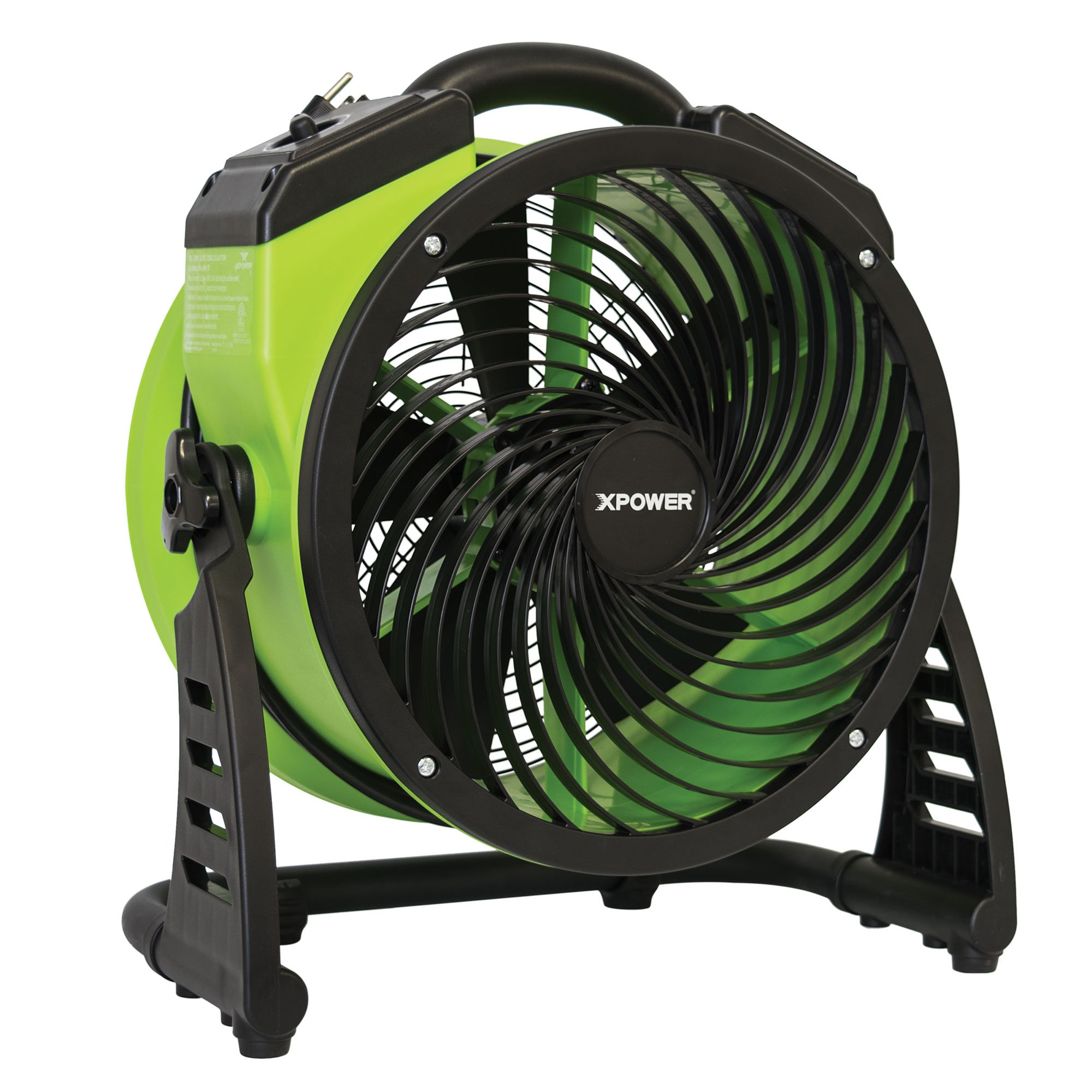 XPOWER FC-200 Heavy Duty Whole Room Air Circulator Fan, Carpet Dryer, Floor Fan, Blower – 13″ Diameter Multipurpose Shop Fan- Green