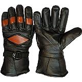 GOOD LIFE STUFF genuine leather mutli color brown on black winter riding gloves for men (GLSGL-4042)