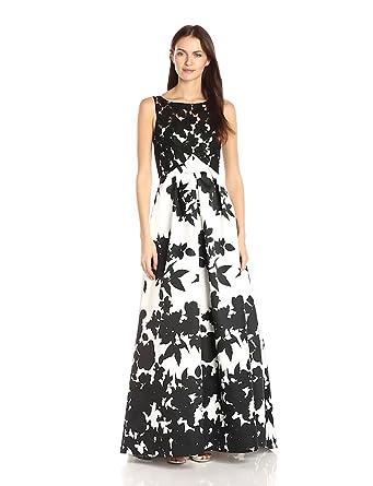 4e9dd81ab805 Carmen Marc Valvo Infusion Women's Printed Mikado Strapless Ballgown W/Lace  Bodice Overlay, Black