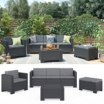 Amazon.de: BICA Colorado Lounge Set Poly Rattan Gartenmöbel ...