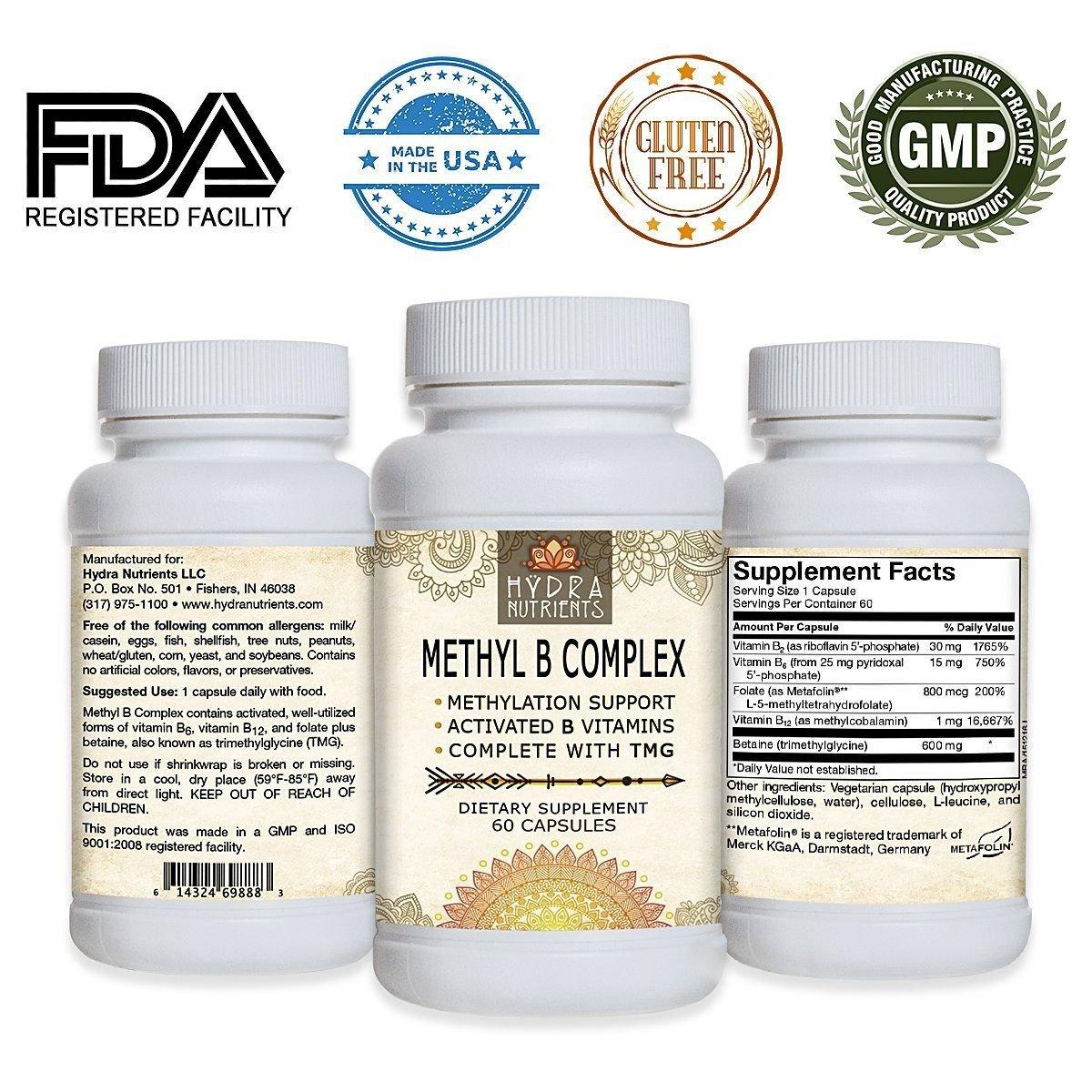 Hÿdra Nutrients Methyl Vitamin B Complex - Active B Vitamins - B12 Methylcobalamin -...