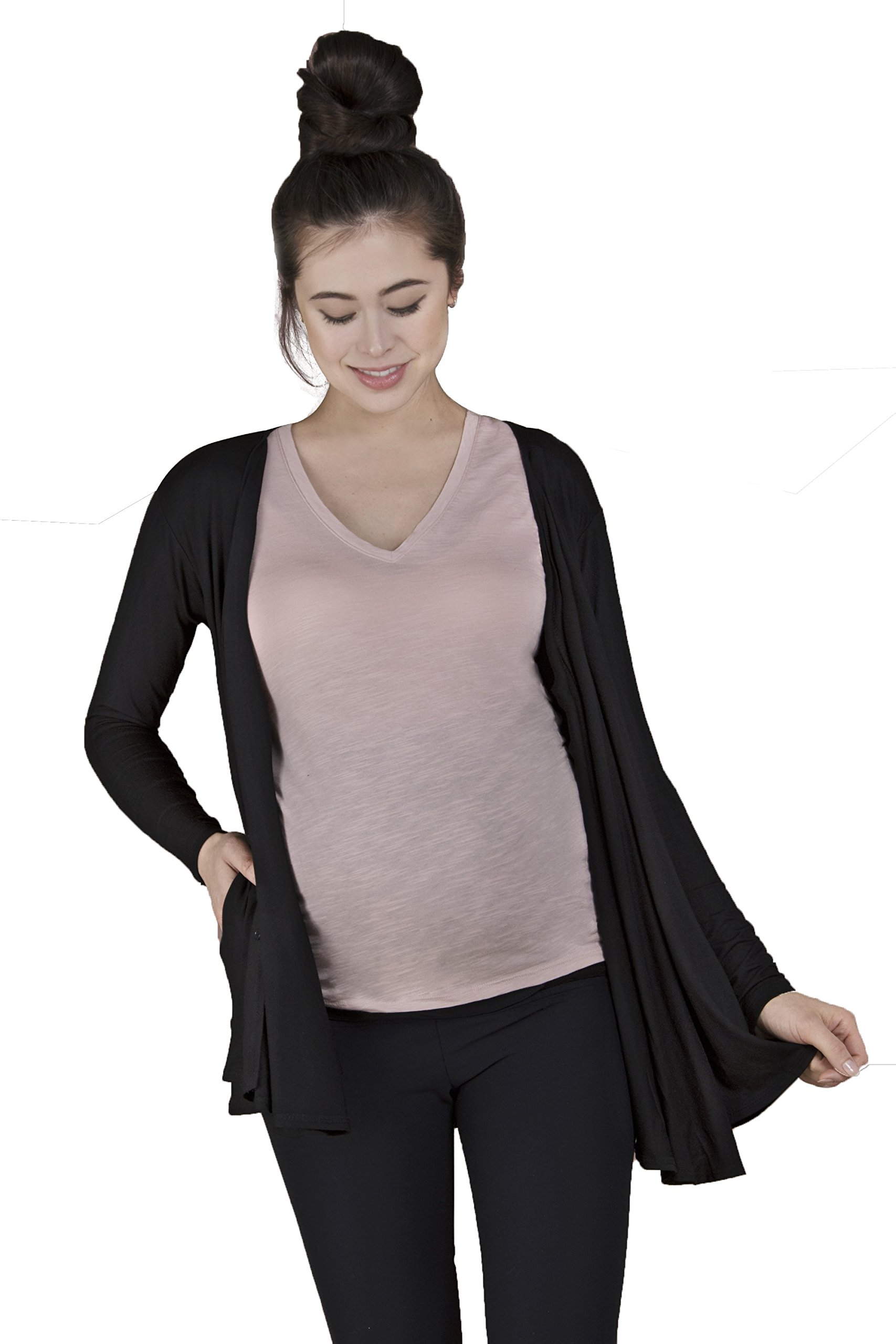 Two-in-one Nursing Cover and Cardigan for Maternity, Breastfeeding and Pumping by goodbody goodmommy Black