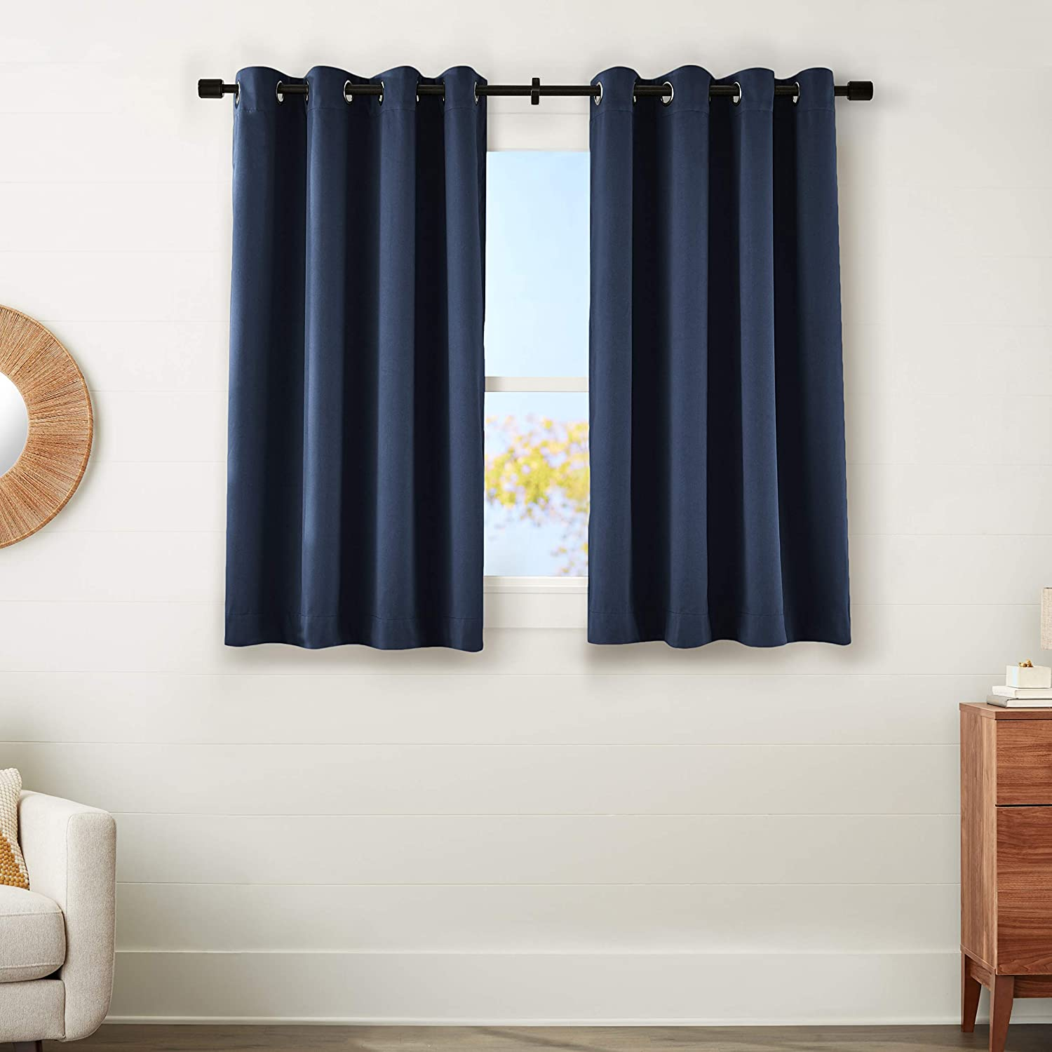 "AmazonBasics 99% Room Darkening Theatre Grade Heavyweight Window Panel with Grommets and Thermal Insulated, Noise Reducing Liner - 52"" x 63"", Navy Blue"