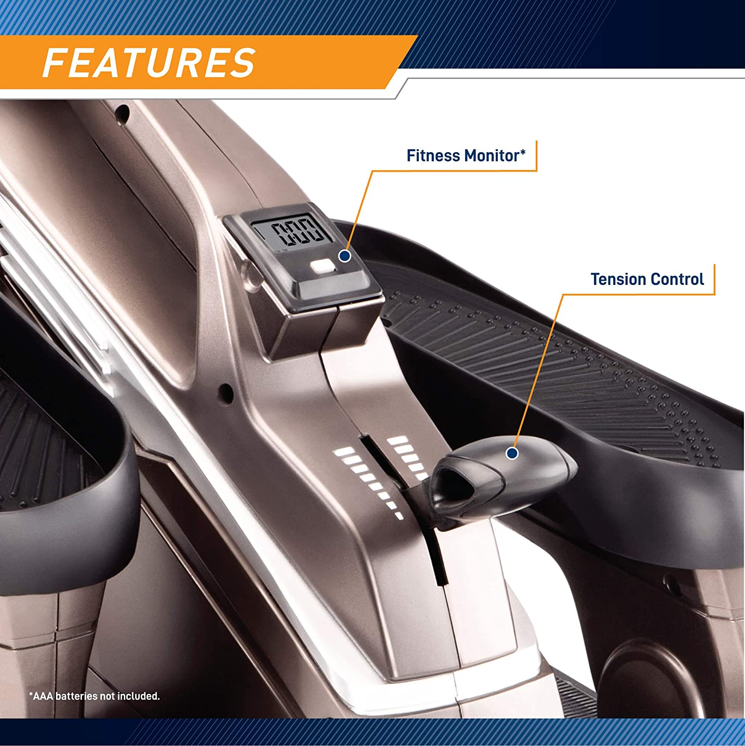 Bionic Body Magnetic Tension Under Desk Elliptical With Fitness Monitor