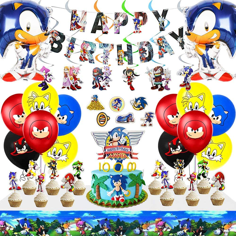Sonic The Hedgehog Birthday Party Supplies Decorations,Include 12Pcs Sonic/The/Hedgehog Hanging Swirl Decorations and 12pc Sonic/The/Hedgehog Character Cards