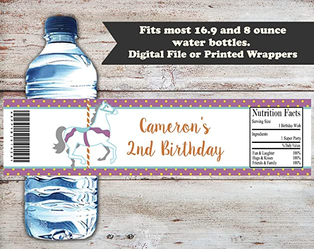 7d74334c5ed4 Amazon.com: Carousel Personalized Birthday or Baby Shower Water ...