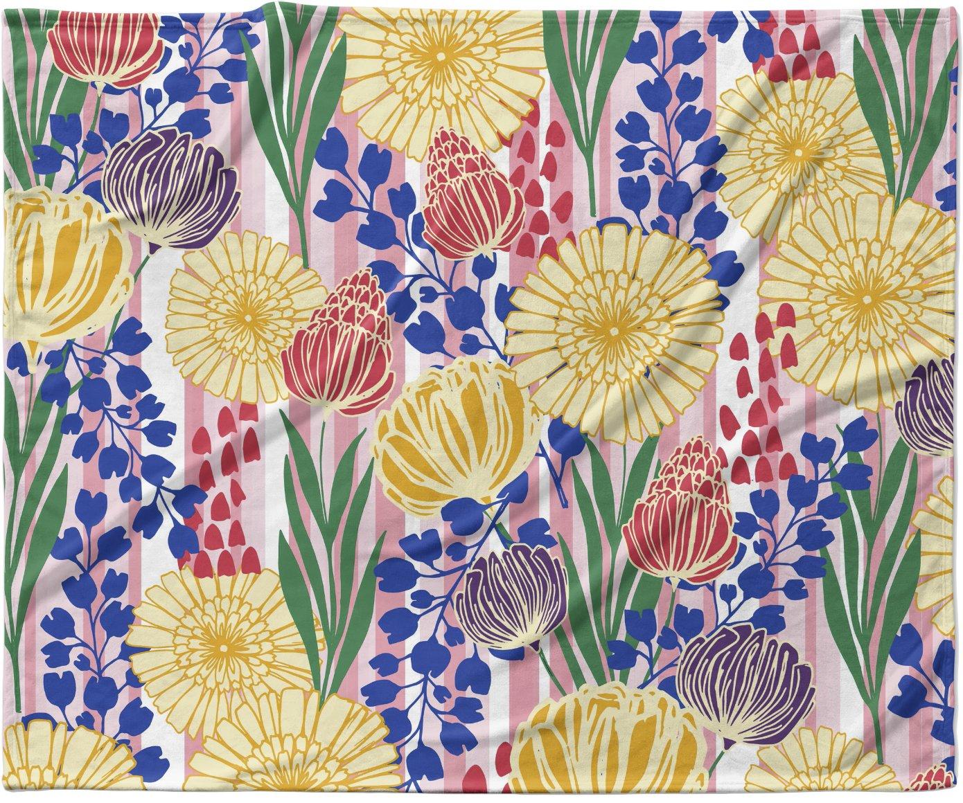 KESS InHouse Amy Reber 'Pretty Bouquet' Yellow Floral Fleece Baby Blanket, 40' x 30'