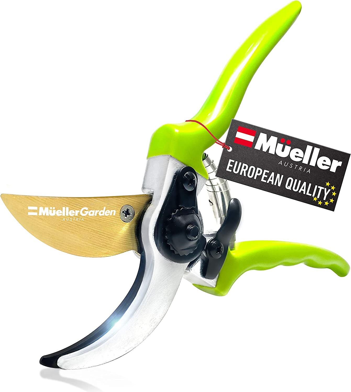Mueller Heavy Duty Garden Shears, Hand Pruner, Bypass Shears, Durable Hardened Titanium Blades, 1.2