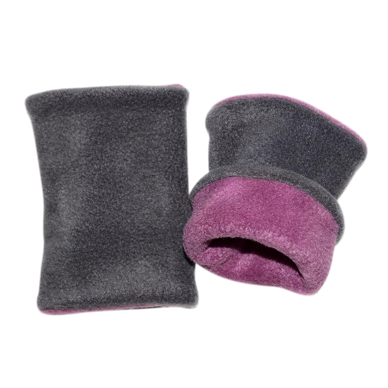 Kuschelige Wende Stulpen • Pulswärmer, Kurz-Stulpen (grau, violett) | brit-M