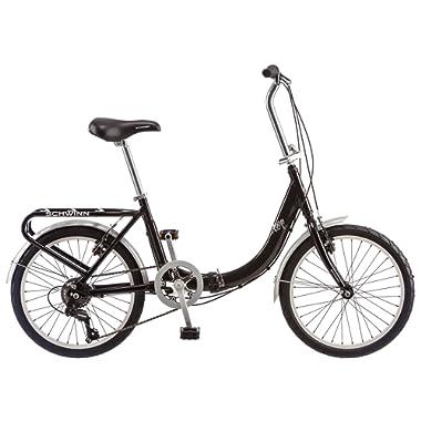 Schwinn Loop Adult Folding Bicycle Men's Women's 20 inch wheel size, Silver, 7 speeds