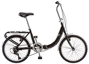 Schwinn Loop Folding Bicycle, Featuring Front and Rear Fenders, Rear Carry Rack, and Kickstand with 7-Speed Drivetrain, Includes Nylon Carrying Bag, ...