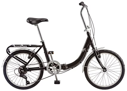 3e149c1cce1 Schwinn Loop Folding Bicycle, Featuring Front and Rear Fenders, Rear Carry  Rack, and