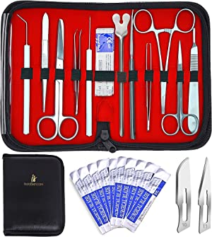 20 Pcs Advanced Dissection Kit Biology Lab Anatomy Dissecting Set for Medical Students and Veterinary with Stainless Steel Scalpel Knife Handle Blades