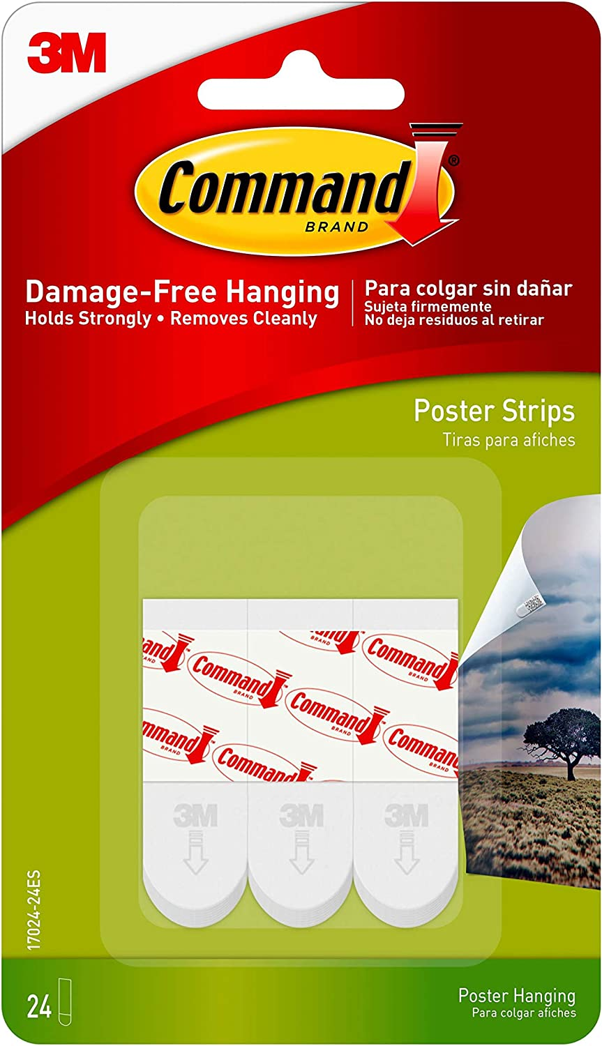 17024-60ES 60-Strips NEW-Command Poster Hanging STRIPS VALUE PACK+Small White