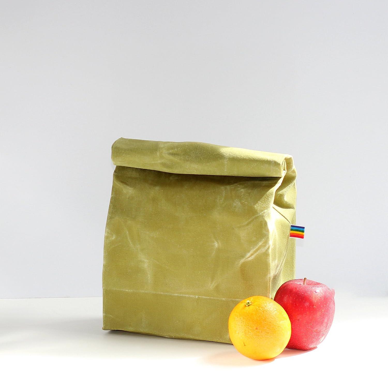 Lunch Bag - Light Green Waxed Canvas