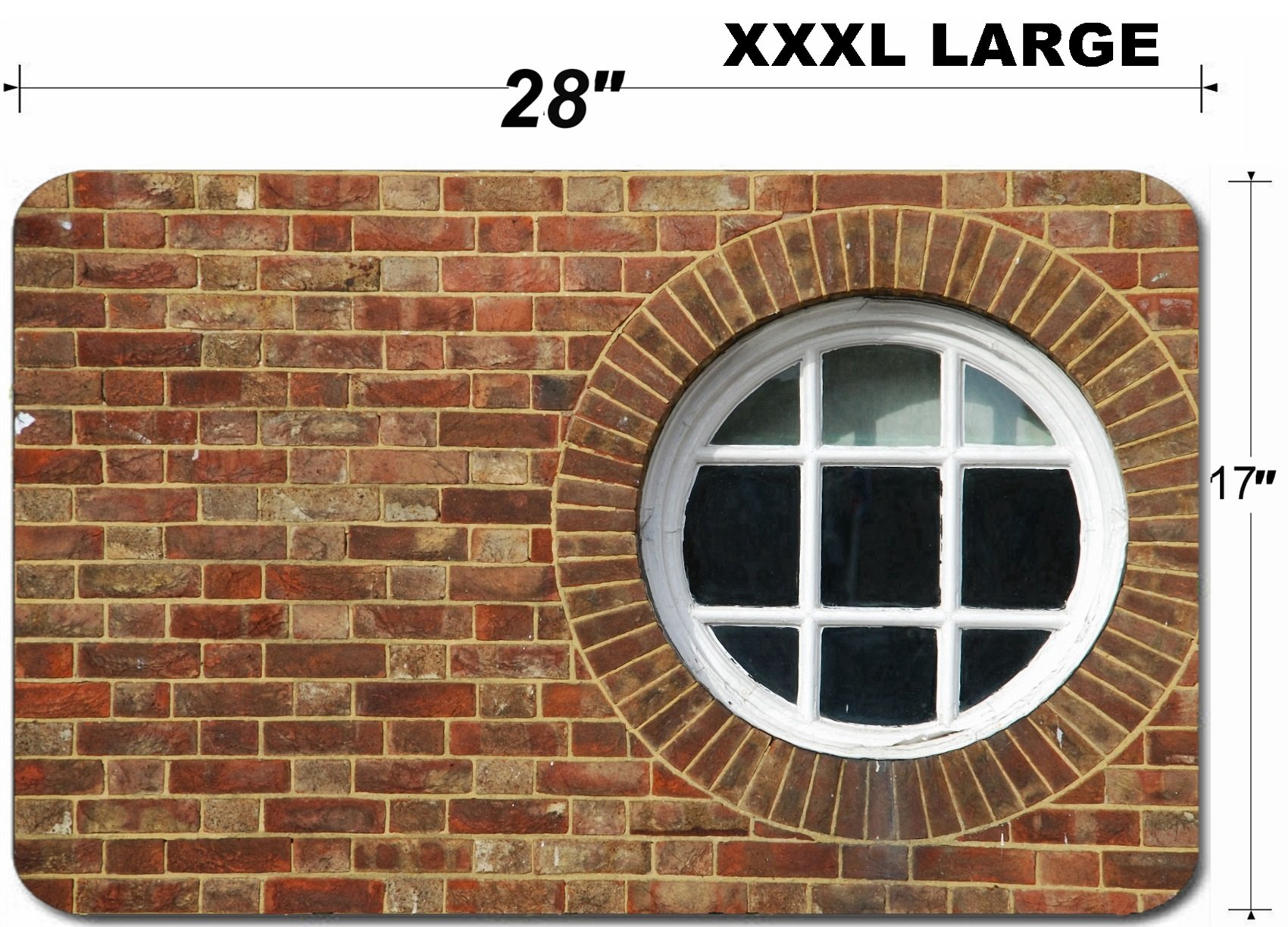 Liili Large Table Mat Non-Slip Natural Rubber Desk Pads round and vintage wooden window on a wall building Photo 7131279