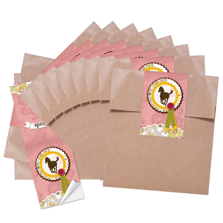 13/x 18/cm 25/Petit Marron Pochettes Cadeaux Sacs Papier /Id/éal pour petits et grands chevaux Fans de faire une petit plaisir; 1/A de qualit/é avec autocollant Cheval/