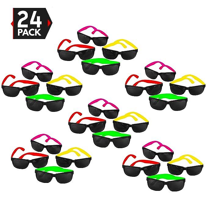 Amazon.com: Paquete de 24 gafas neón estilo añ ...