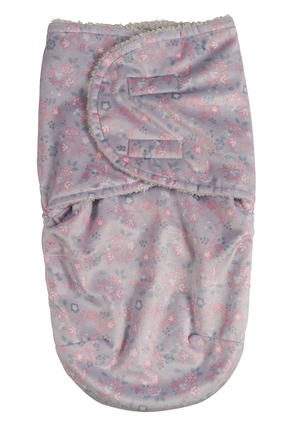 Laura Ashley Infant Swaddle Sack Gray Floral Print on Mink with Sherpa Lining GS70807