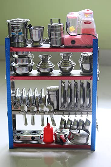 Buy Miniature Steel Kitchen Toy Set Bhatukali Kids Toys Online At Low Prices In India Amazon In