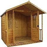 7x7 Bournemouth Wooden Summerhouse - Veranda, Styrene Windows & Double Doors - By Waltons