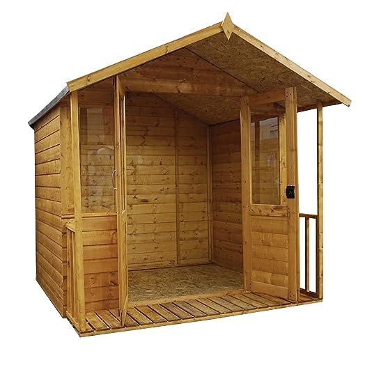 7x7 bournemouth wooden summerhouse veranda styrene windows double doors by waltons - Garden Sheds With Veranda